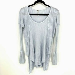 Free People Waffle Knit Thermal Hi Low Tunic Top